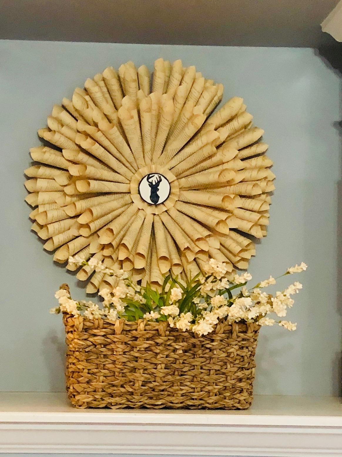 book wreath on wall