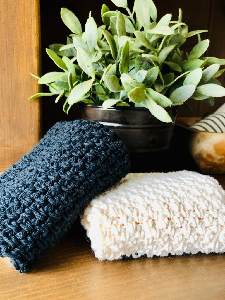 blue and white washcloths
