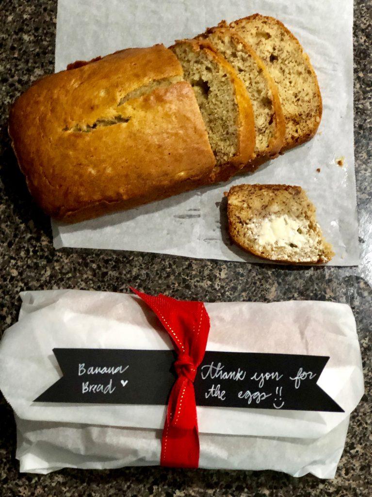 gift wrapped banana bread