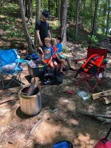 camping, lake, fire pit, boys camping, lake wateree, solo stove ranger, solo stove fire pit